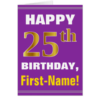Bold, Purple, Faux Gold 25th Birthday w/ Name Card