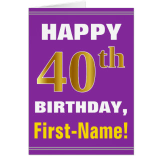 Bold, Purple, Faux Gold 40th Birthday w/ Name Card