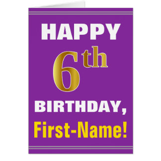 Bold, Purple, Faux Gold 6th Birthday w/ Name Card