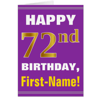 Bold, Purple, Faux Gold 72nd Birthday w/ Name Card