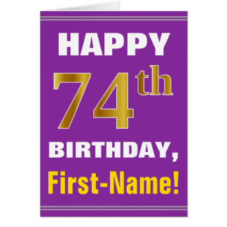 Bold, Purple, Faux Gold 74th Birthday w/ Name Card