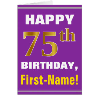 Bold, Purple, Faux Gold 75th Birthday w/ Name Card