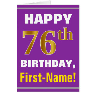 Bold, Purple, Faux Gold 76th Birthday w/ Name Card