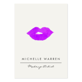 Bold Purple Lips Watercolor Large Business Card