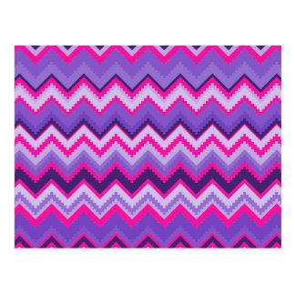 Bold Purple Pink Tribal Chevron Zig Zags Postcard