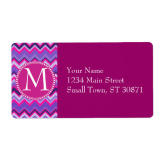 Bold Purple Pink Tribal Chevron Zig Zags Shipping Label