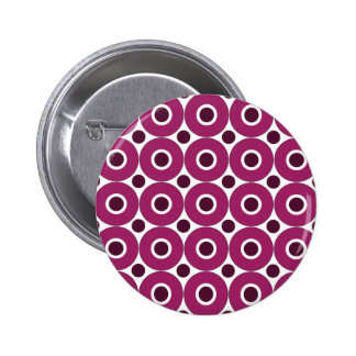 Bold Purple Polka Dots Concentric Circles Pattern Buttons