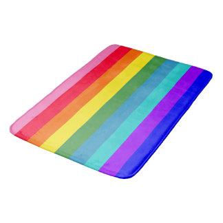 Bold Rainbow Stripes bath mat