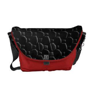 Bold Red and Black Mosaic Tiled Texture Design Messenger Bags