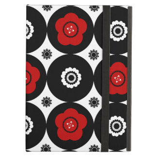 Bold Red and Black Trendy Mod Circles iPad Air Covers