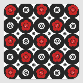Bold Red and Black Trendy Mod Circles Sticker