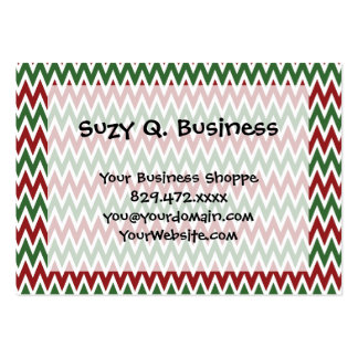 Bold Red and Green Christmas Chevron Zigzags Business Card Template