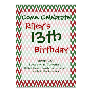Bold Red and Green Christmas Chevron Zigzags Invitation