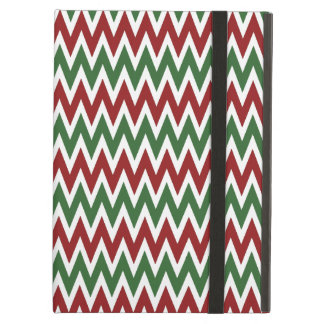 Bold Red and Green Christmas Chevron Zigzags iPad Case