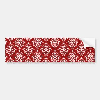 BOLD RED AND WHITE DAMASK PATTERN 1 BUMPER STICKER