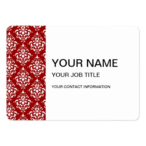 BOLD RED AND WHITE DAMASK PATTERN 1 BUSINESS CARDS