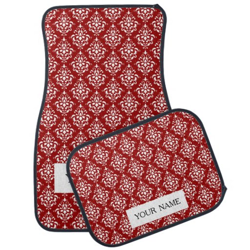 BOLD RED AND WHITE DAMASK PATTERN 1 FLOOR MAT