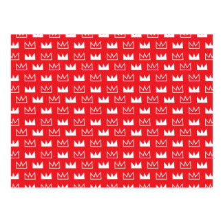 Bold Red and White King Queen crown abstract Postcard