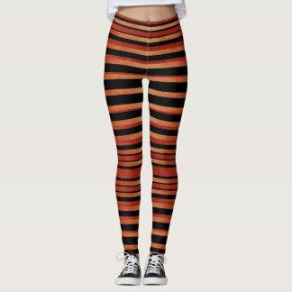 Bold Red & Black Striped Pattern Leggings