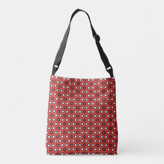Bold Red Black White Flowers Floral Cross Body Bag
