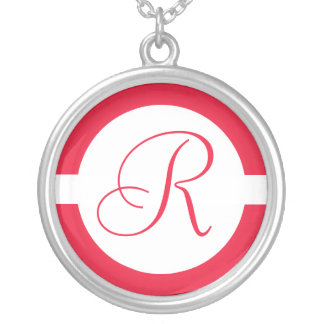 Bold Red Circle Monogram Silver Plated Necklace