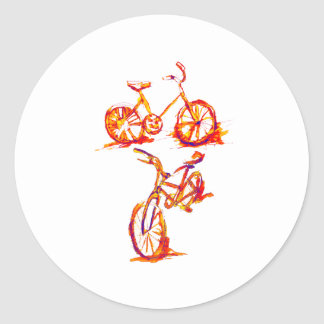 Bold Red Cycling Bike Round Stickers