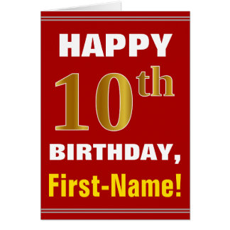 Bold, Red, Faux Gold 10th Birthday w/ Name Card