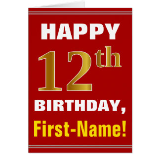 Bold, Red, Faux Gold 12th Birthday w/ Name Card