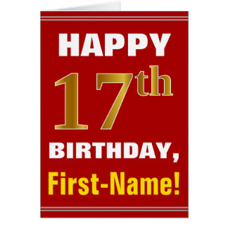 Bold, Red, Faux Gold 17th Birthday w/ Name Card