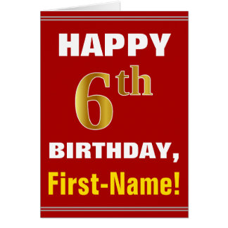 Bold, Red, Faux Gold 6th Birthday w/ Name Card