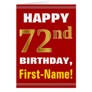 Bold, Red, Faux Gold 72nd Birthday w/ Name Card