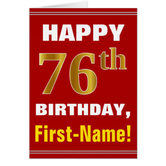 Bold, Red, Faux Gold 76th Birthday w/ Name Card
