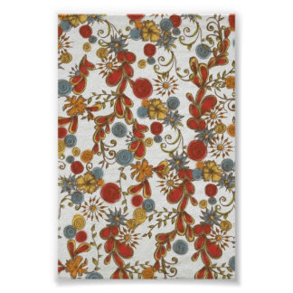Bold Red Flowers Vines Poster