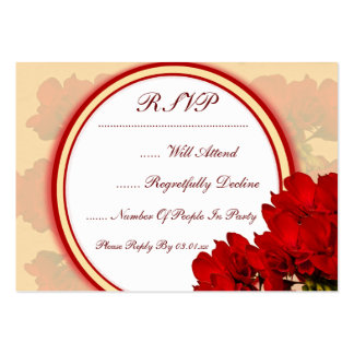 Bold Red Flowers Wedding Pack Of Chubby Business Cards