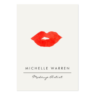 Bold Red Lips Watercolor Large Business Card