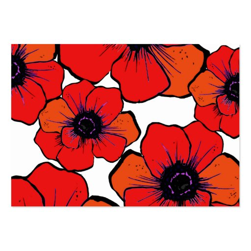 Bold Red Orange Poppies Business Card