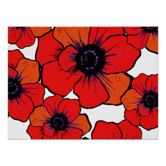 Bold Red Orange Poppies Poster
