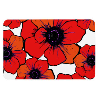 Bold Red Orange Poppies Flexible Magnet