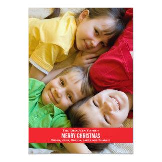 Bold Red Ribbon Christmas Card 13 Cm X 18 Cm Invitation Card