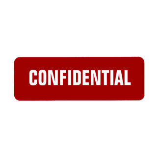 Bold Red Small Confidential Stickers Return Address Label