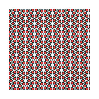 Bold Red White Black Floral Print Wrapped Canvas