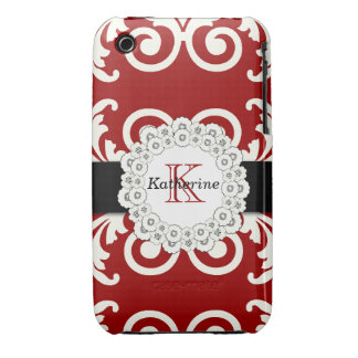 Bold Red White Swirls Damask Floral Pattern iPhone 3 Case-Mate Cases