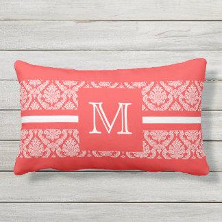 Bold Salmon and White Damask with Monogram Throw Cushion