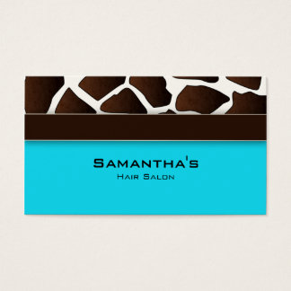 Bold Salon Spa Business Card trendy giraffe blue