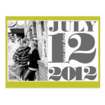 BOLD Save the Date | Grey, Yellow and White Post Cards