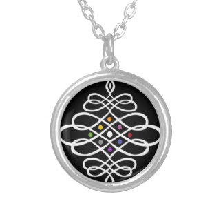 Bold Scrollwork Medallion Design Silver Plated Necklace