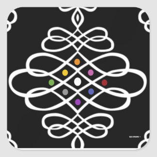 Bold Scrollwork Medallion Design Square Sticker