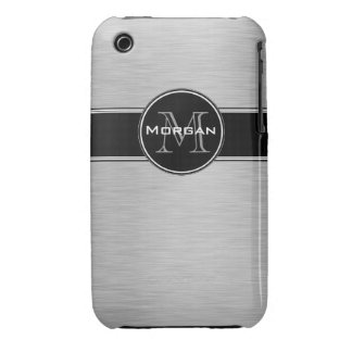 Bold Silver Black Monogram Name Personalized Case-Mate iPhone 3 Cases