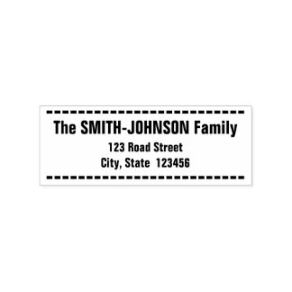 Bold, Simple Family Name and Address Rubber Stamp