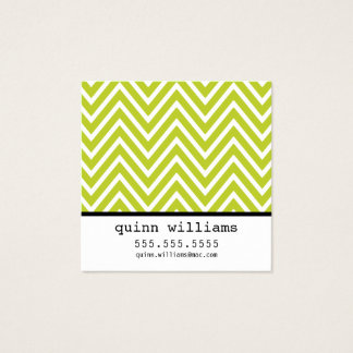 BOLD SIMPLE MODERN chevron pattern preppy lime Square Business Card